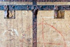 Alte Reisekastenfront Stockbild