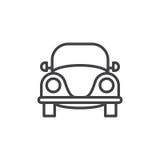 Alte Retro- Autolinie Ikone, Entwurfsvektorzeichen, lineares Artpiktogramm lokalisiert auf Weiß stock abbildung