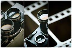 Alte Retro- Filmkamera auf Hintergrund des Perforierungsfilmes Lizenzfreie Stockfotografie