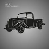 Alte Retro- Kleintransportervektor-Illustrationsikone Weinlesetransportfahrzeug Stockfotos