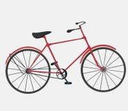 Alte Retro- Weinleseart des roten Fahrrades auf weißem Hintergrund Stockbild