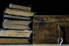 Alte Rollen und Pläne in gefalteten Papierrollen Altes Buch und Fall Dokumente auf einem alten Holztisch Lizenzfreie Stockfotos