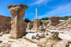 Alte Roman Empire-Ruinen von Karthago, Landhäuser in Tunisa Lizenzfreie Stockfotografie