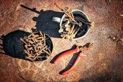 Alte rostige gebrochene Werkzeuge, Nägel und Zangen auf einem Hintergrund des Rosts Lizenzfreies Stockbild