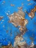 Alte rostige Metallbeschaffenheit gemalt mit blauer Farbe Stockfotografie