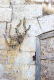 Alte rostige Schleife auf einer rostigen Eisentür geregelt in einer Steinwand Lizenzfreie Stockfotografie