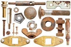 Alte rostige Schraubenköpfe und Schrauben der Ansammlung Stockbilder