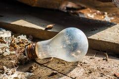 Alte rostige unfunktionale Glühlampe E27 stockfoto