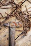 Alte rostige Werkzeuge, der Hammer und Nägel Stockbild