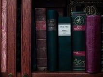 Alte rote Bücher auf einem Regal Lizenzfreie Stockfotos