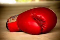 Alte rote Boxhandschuhe Stockfotografie