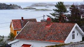 Alte rote Dachplatten bedeckt mit Moos stockfotos