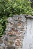 Alte rote Farbbacksteinmauer mit Gips stockbild