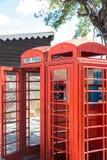 Alte rote Telefonzellen Stockfotografie