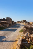 Alte Ruinen bei Pamukkale die Türkei Stockfotografie