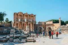 Alte Ruinen Bibliothek Ephesus Celsus in Selcuk, die Türkei Stockbild