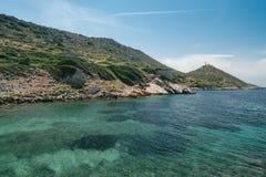 Alte Ruinen in der alten Stadt von Knidos Landschaft mit alten Ruinen Der alte Seehafen von Knidos Die Türkei Lizenzfreie Stockfotografie