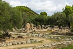 Alte Ruinen der archäologischen Fundstätte von Olympia in Peloponnes, Griechenland Im Altertum wurden die Olympischen Spiele jede lizenzfreies stockfoto