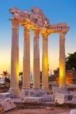 Alte Ruinen in der Seite, die Türkei am Sonnenuntergang Stockfotos