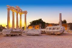 Alte Ruinen in der Seite, die Türkei am Sonnenuntergang Stockfoto