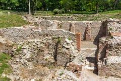Alte Ruinen der thermischen Bäder von Diocletianopolis, Stadt von Hisarya, Bulgarien Lizenzfreie Stockfotografie