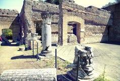 Alte Ruinen des Landhauses Adriana, Tivoli, Italien Lizenzfreies Stockbild