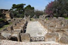 Alte Ruinen des Landhauses Adriana, Tivoli, Italien Stockfotografie