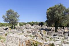 Alte Ruinen des Tempels Zeus, archäologisches PEL Standort der Olympia Stockfoto