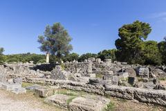 Alte Ruinen des Tempels Zeus, archäologisches PEL Standort der Olympia Lizenzfreies Stockfoto