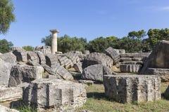 Alte Ruinen des Tempels Zeus, archäologisches PEL Standort der Olympia Lizenzfreie Stockfotografie