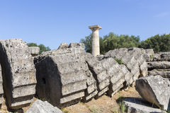 Alte Ruinen des Tempels Zeus, archäologisches PEL Standort der Olympia Stockbilder