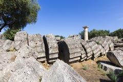 Alte Ruinen des Tempels Zeus, archäologisches PEL Standort der Olympia Lizenzfreie Stockfotos