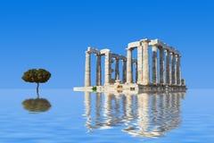 Alte Ruinen und Baum im Wasser Lizenzfreie Stockbilder