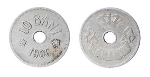 Alte rumänische Münze Stockbilder