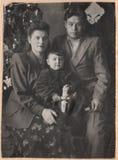 Alte russische Familie der Schwarzweiss-Fotografien Lizenzfreie Stockfotos
