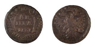Alte russische Münze Denga 1737 lokalisiert Stockfotos