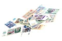 Alte russische Rubel auf einem weißen Hintergrund Stockbild