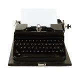 Alte russische Schreibmaschine und Papier Stockbilder