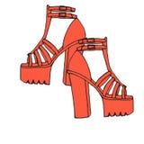 Alte scarpe del tallone del segno di spunta di scarabocchio d'avanguardia con la piattaforma Fotografie Stock Libere da Diritti