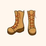 Alte scarpe di autunno con i pizzi Immagini Stock Libere da Diritti