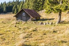 Alte Schäferhütte im Klärungsstredna-polana auf der Spur zu Velky Choc lizenzfreies stockbild