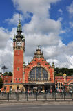 Alte schöne Bahnstation in Danzig (Gdansk) in Polen Stockbilder