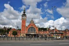 Alte schöne Bahnstation in Danzig (Gdansk) in Polen Lizenzfreies Stockbild