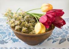 Alte Schüssel mit Blumentulpen und -kastanien Lizenzfreies Stockfoto