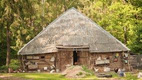 Alte Scheune im Dorf mit dem gehenden Huhn und der Katze stock video footage