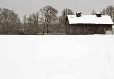 Alte Scheune im Winter Stockfotografie