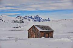 Alte Scheune noch gebräuchlich auf dem nationalen Elch-Schutz, Jackson Hole, Wyoming Stockbild