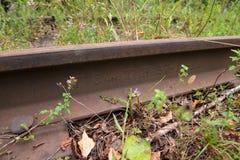 Alte Schiene auf der Eisenbahnlinie Stockfoto