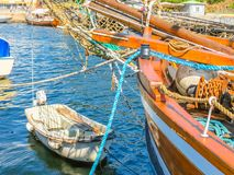 Alte Schiffe und Boote im Oslo beherbergten Stockfoto