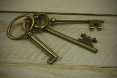Alte Schlüssel auf einem rustikalen Hintergrund Lizenzfreie Stockfotos